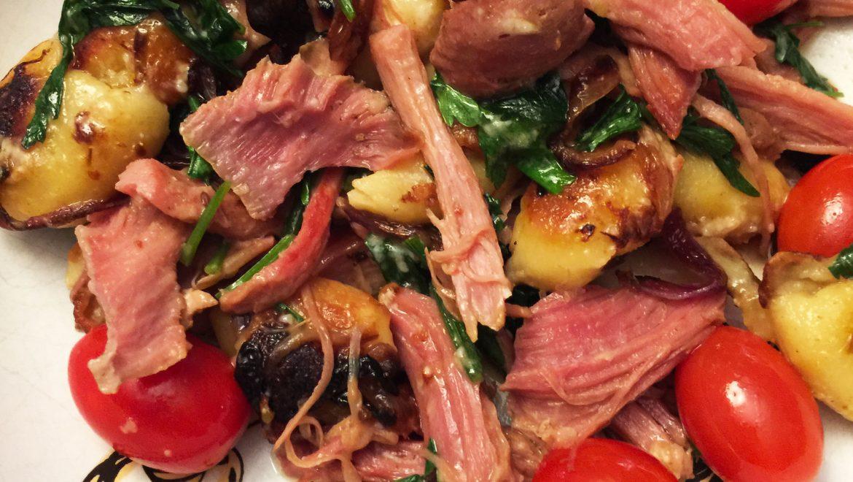 Gnocchis grillés avec porc effiloché